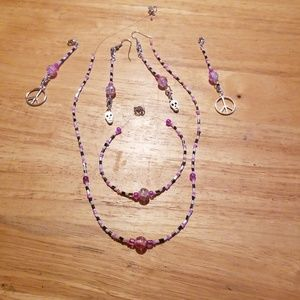 Earring, necklace and bracelet set 15A